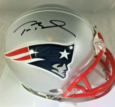 TOM BRADY / AUTOGRAPHED NEW ENGLAND PATRIOTS LOGO MINI HELMET / MOUNTED MEMORIES image 1