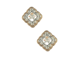 Dainty Two Tone Cutout Matte Finish Metal Filigree Style Stud Earrings - $8.95+