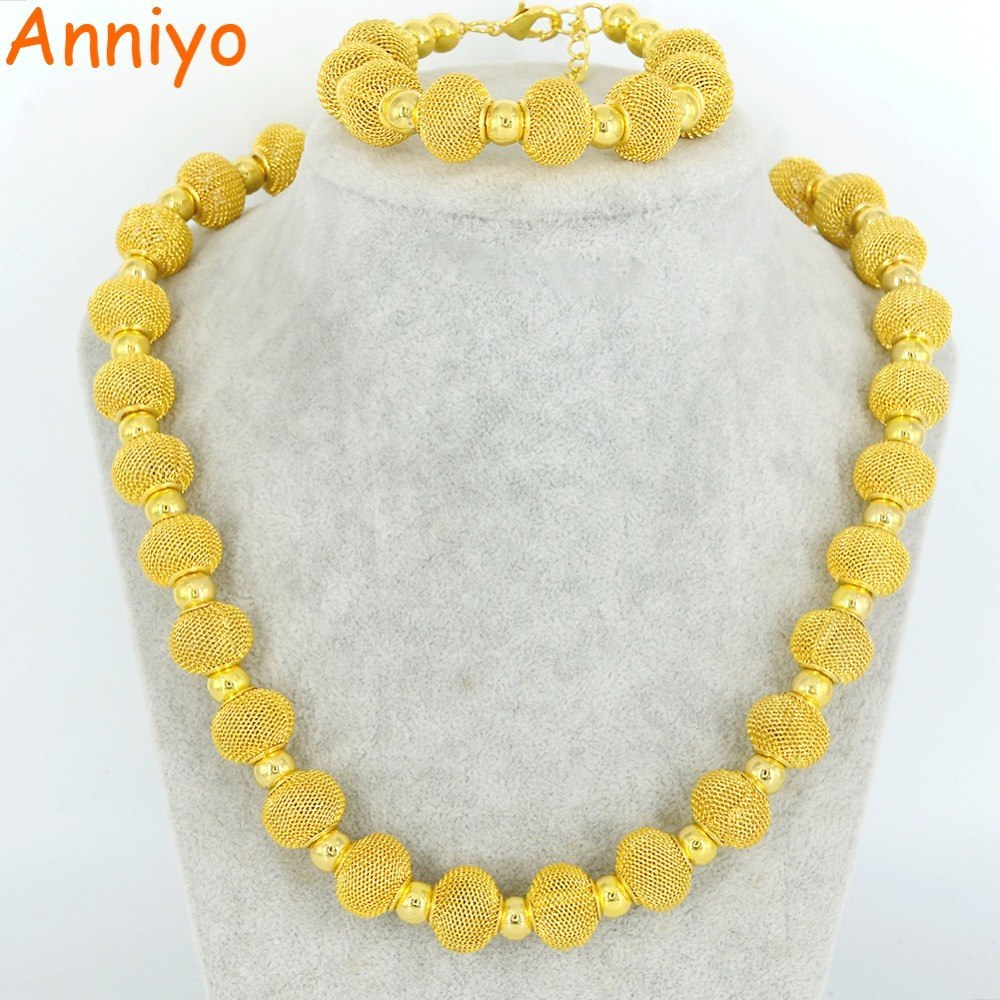 Primary image for Beads 54cm Necklace and 21.5cm Bracelets for Women Fashion Gold Color