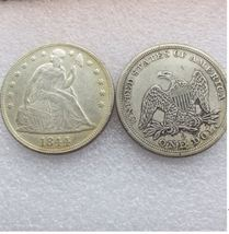 1844-p SEATED LIBERTY SILVER DOLLARS  - $5.00