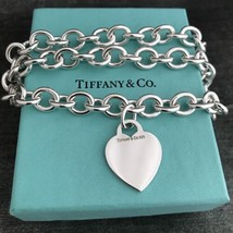 Tiffany & Co Sterling Silver Engravable Blank Heart Tag Necklace with Box - $198.00
