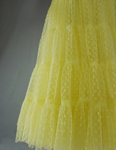 Women Tiered Long Skirt Outfit High Waisted Layered Yellow Tulle Skirt image 8