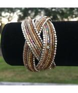 Intricate Design Multi Colors Brown Tones Seed Beads Cuff Bracelet - $12.77