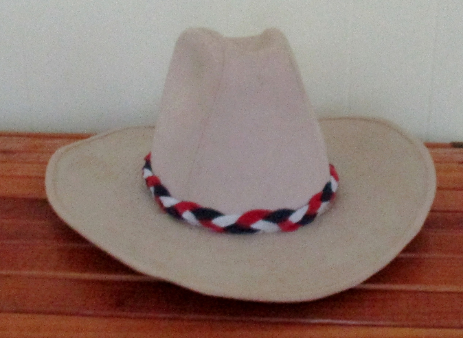 Custom Made #1 Red, White & Blue Braided Leather Hat-Band,  Suede Leather