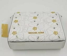 Michael Kors Sofia Stud Flower Crossbody Leather Small Bag White 35H8GO5... - $169.31