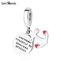 Buy Original 100% 925 Sterling Silver Charm Bead Anchor Of Love Pendant ... - $19.99