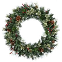 "60"" Nisswa Berry Pine w/Pine Cones Commercial Christmas Wreath - Unlit - $201.70"