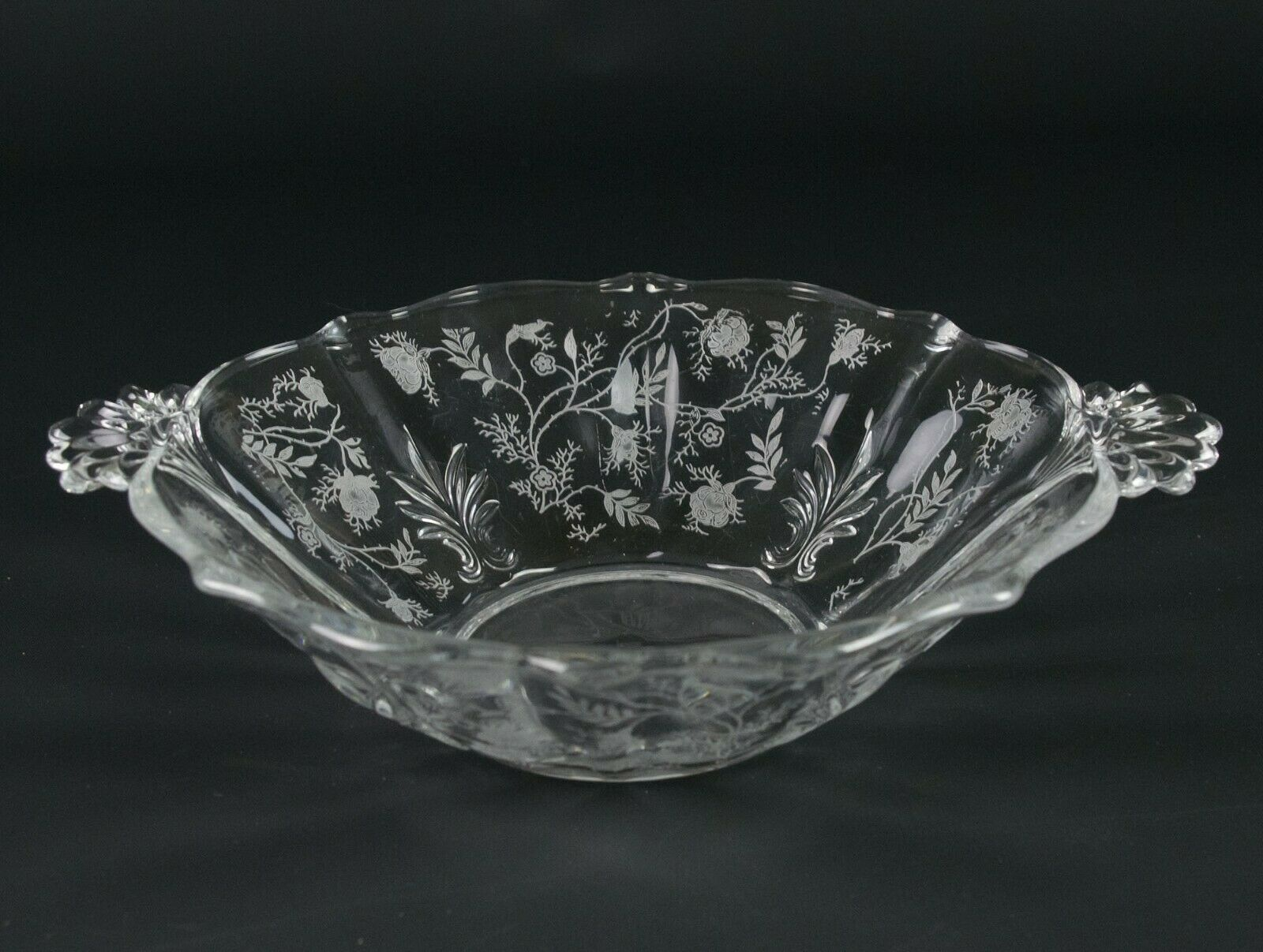 Primary image for Fostoria Chintz Handled Serving Bowl, Vintage Elegant Etched Baroque 2496 8 1/2""