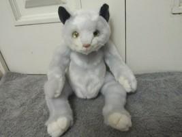 "TY CLASSIC CAT ""PEARL"" GREY FUR YELLOW GOLD EYES PLUSH KITTY 2000 - $11.75"