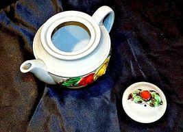 Ceramic TeaPot Japan Grey Pot with Yellow and Orange Flowers AB 535-B Vintage image 5