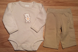 Boy's Size NB Newborn Carter's Tan/ Cream L/S Bear Embroidered Top & Pants - $18.50