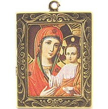 DOLLHOUSE Madonna Child Icon Our Lady of Kazan Framed Picture Carradus Miniature - $4.65