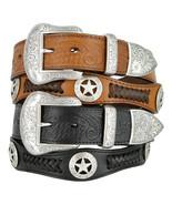 Texas Star - Mens Western Embossed Genuine Cowhide Leather Scalloped Bel... - $44.95