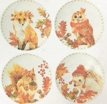"Woodland Creatures Appetizer Tidbit Melamine Plates 6"" set of 4 Lodge Ru... - $23.40"