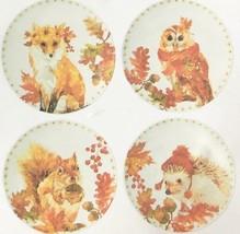 "Woodland Creatures Appetizer Tidbit Melamine Plates 6"" set of 4 Lodge Ru... - $452,30 MXN"