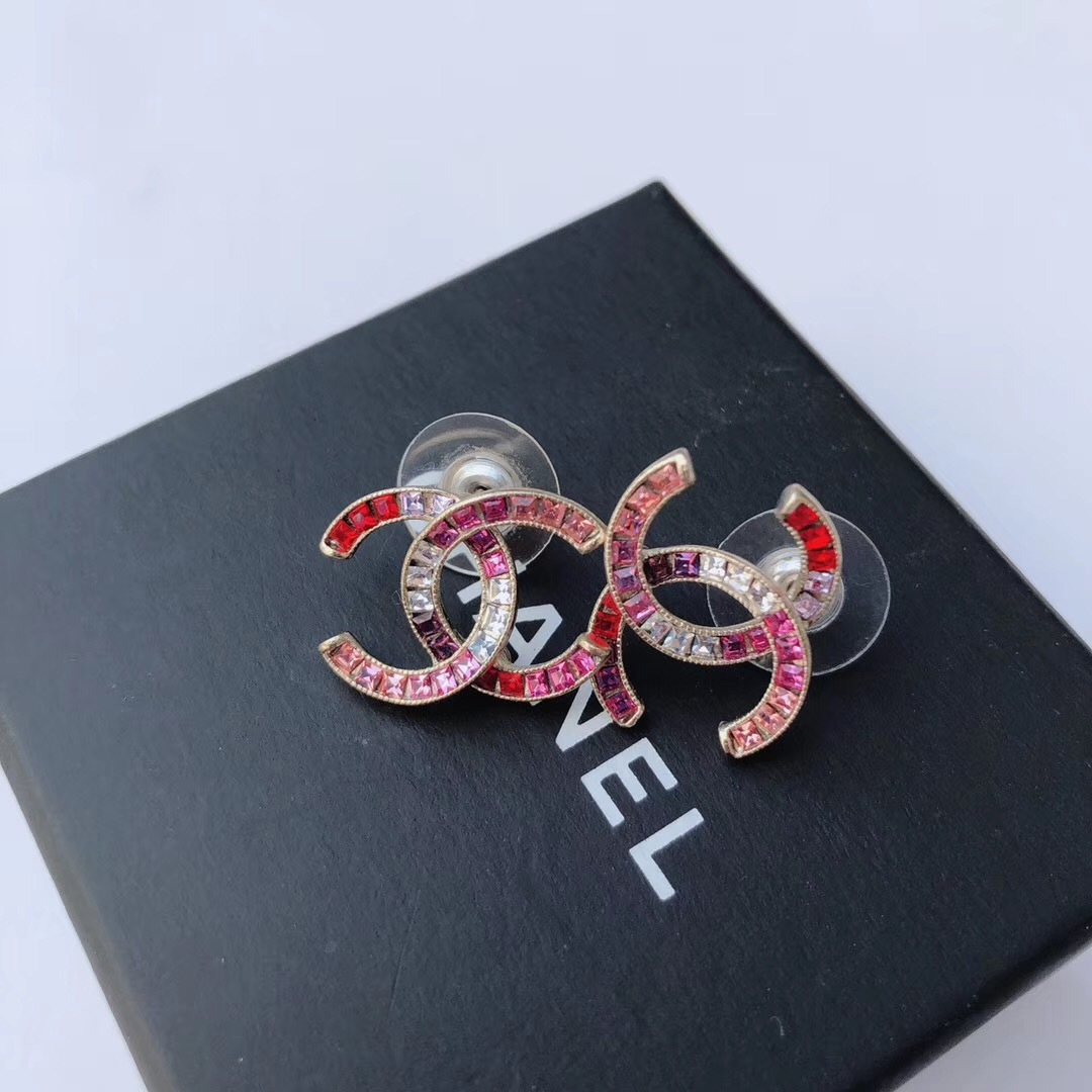 NEW AUTHENTIC Chanel CC Crystal Logo Stud Large Piercing Earrings