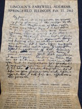 LINCOLN'S FAREWELL ADDRESS AT SPRINGFIELD, ILLINOIS 1861 REPRODUCED ON P... - $2.00