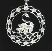 Sarah Coventry SWAN LAKE Rhinestone Medallion NECKLACE Vintage Silverton... - $14.99