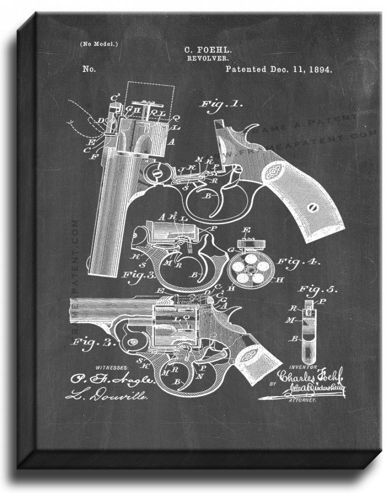 Primary image for Revolver Patent Print Chalkboard on Canvas