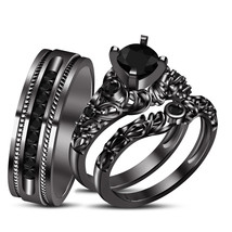 10K Black Gold Over Solid 925 Silver Black Simulated Diamond Trio Ring Set - $157.99