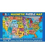 U.S.A. Vinyl Magnetic Jigsaw Puzzle Map with Interactive Playboard NEW S... - $8.79