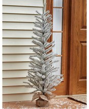 "Artificial Christmas Tree 48"" White Glitter Tinsel Burlap Base Xmas Porc... - $32.66"