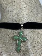 Vintage Green Jade Cross Choker Necklace 925 Sterling Silver Deco - $67.32