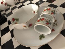 Vintage 1978 AVON Strawberries Demitasse Cup & Saucer, 22K Gold Trim - $18.69