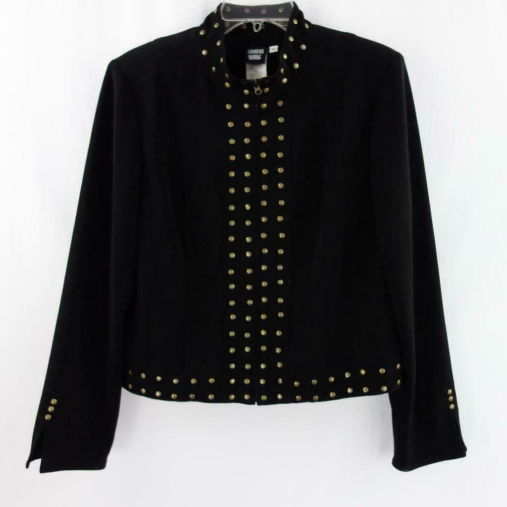 Primary image for Sharon Young Brass Studded Black Zip Front Womens Stretch Jacket Lined Sz 10
