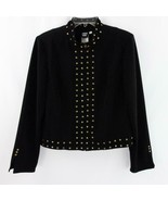 Sharon Young Brass Studded Black Zip Front Womens Stretch Jacket Lined S... - $29.02