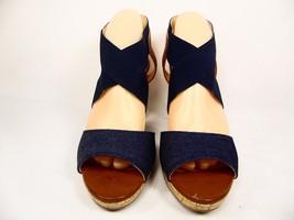 Liz Claiborne Dapper High Heels Platform Sandals Slingbacks Denim Size 7M - $43.39