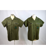 Lot of 2 Vtg 1987 US NAVY Olive Green Button Front Utility Shirts Sz 16.... - $38.60