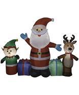 Gemmy 6.5' Long Airblown Santa/Reindeer/Elf Scene Christmas Inflatable - $69.95