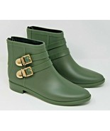 Vince Camuto Size 38 Reign Military Green Rubber Booties Rain Boots Gold... - $60.79