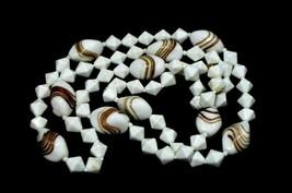 White Milk Glass Metallic Gold Swirl Geometric Bead Beaded Necklace Vintage - $29.69
