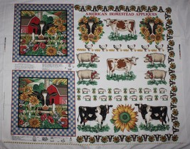 American Homestead Appliques Panel Joan Kessler Concord Cow Pig Sunflowe... - $7.91