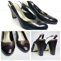 Nine West Sling Back Oval Toe heels Women's Size 8.5 M Chunky leather Alligator - $23.74