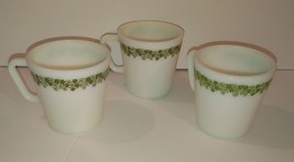 Pyrex White with Green Flowers Vintage Coffee Mug Lot of 3 - $9.50