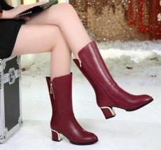 83B015 elegant block heels Martin booties w zip,US Size 5-9, burgundy - $58.80