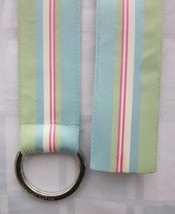 RALPH LAUREN O-RING WIDE RIBBON BELT with STRIPES Signed Engraved Buckle... - $11.88