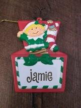 Stravina Elf Santa's Helper Jaime Package Tag Personalized Hanging Ornament - $29.35