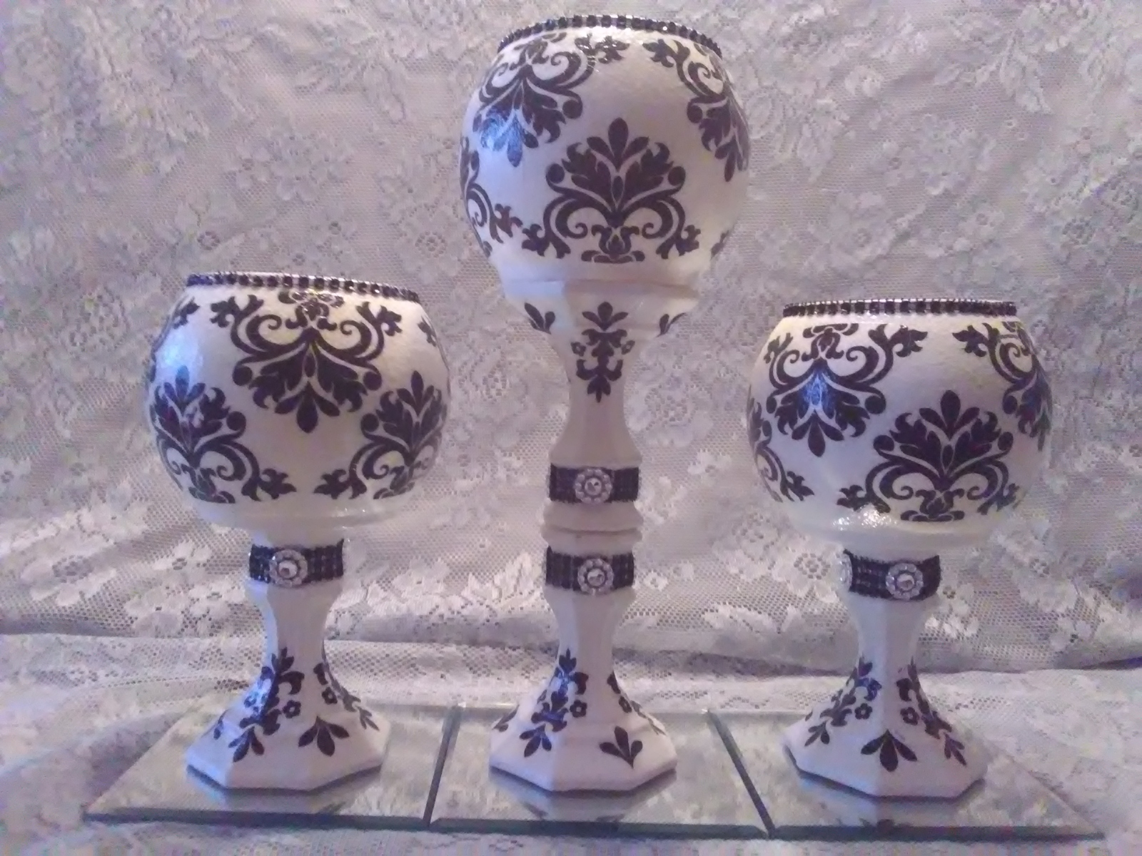 Primary image for 3pc. Black & White Candleholder Set