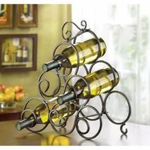 Wrought Iron Wine Rack Spiral Scrollwork Design Holds 6 Bottles of Wine - $24.70