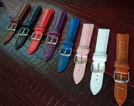 WHOLESALE LOT OF 8 MIXED GENUINE LEATHER WATCH STRAP SIZES 16-18-20-22MM... - $17.20