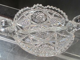 American Brilliant Period 2 Section hand Cut Glass 2 handled dish - $64.17