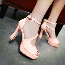 82s027 elegant strappy ankle sandals, patent leather ,US Size 4-8.5, pink - $52.80