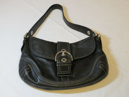 Coach Black front snap closure silver leather hobo purse shoulder bag pr... - $128.69