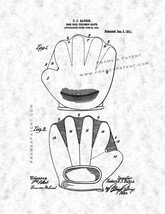 Baseball Fielder's Glove Patent Print - Gunmetal - $7.95+