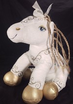 Build A Bear Pony Plush Enchanted White Fairytale Gold Braided Mane Tail... - $24.23
