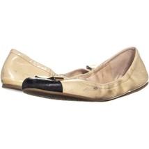 Coach Demi Bow Scrunch Ballet Flats 658, Tapioca/Black, 9 US - $38.29